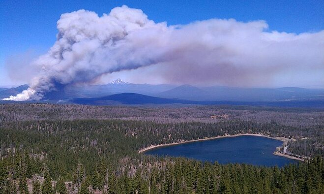 Wildfire in the Cascades near Sisters by Kevin Halesworth