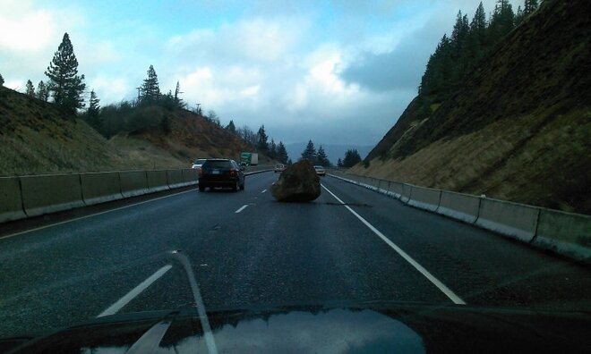 Car-sized boulder blocks interstate