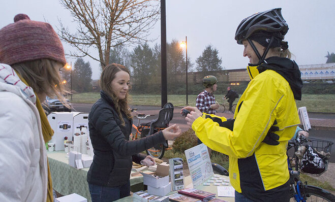 Free food on a foggy morning: 'This is Breakfast at the Bike Bridges'