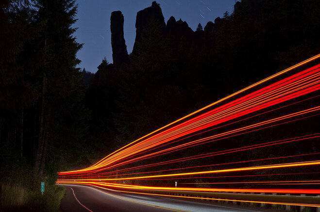 Light Trails along the North Umpqua Highway - Ray Lapke