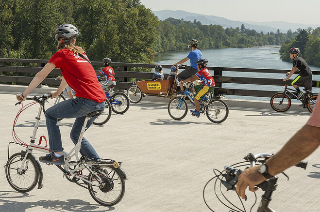 Bikes on new I-5 bridge over Willamette River