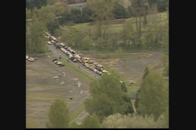 Kilcullen memorial motorcade from the air