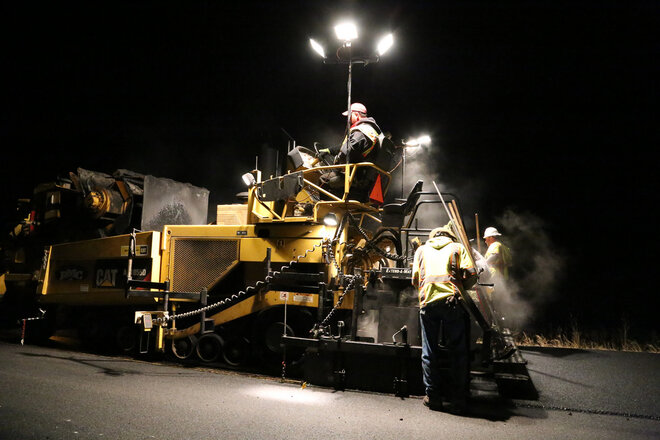 Night Paving near Klamath Lake - Thomas Feeley