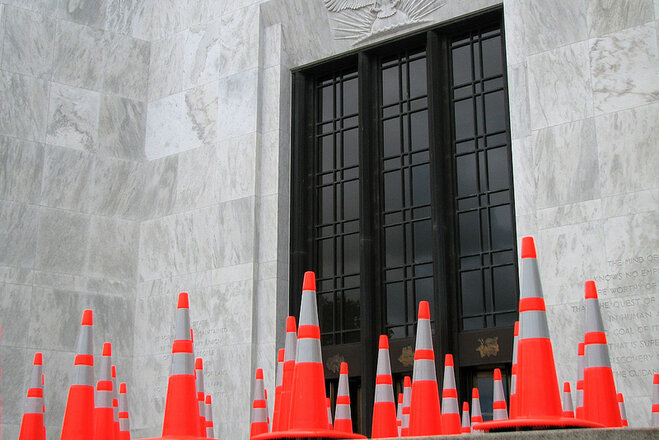 Ninety-seven cones were set up on the front steps of the State Capitol representing the number of people who have been killed in Oregon work zones over the past ten years