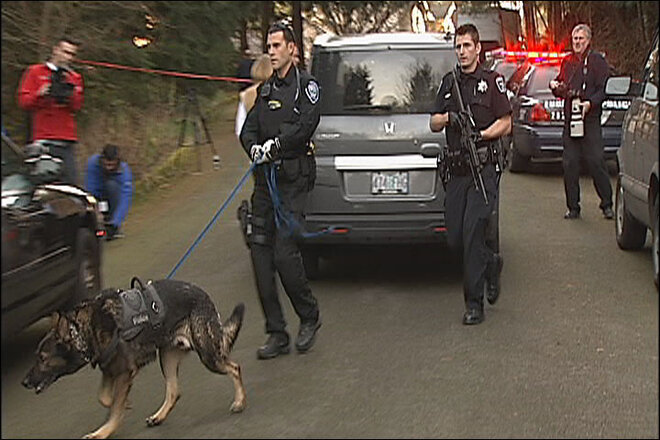 Police dog hunts for second suspect