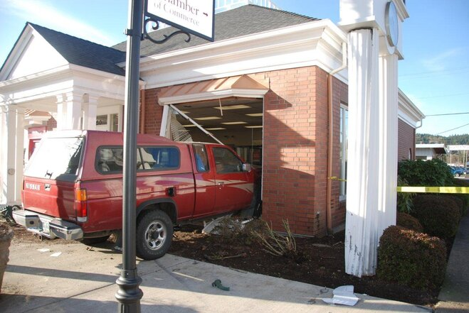 Truck crashes into Bank of America in Cottage Grove - Photo courtesy Mary Ellen