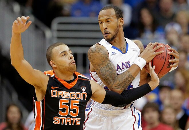 Starks ties OSU record but Beavers fall to Jayhawks