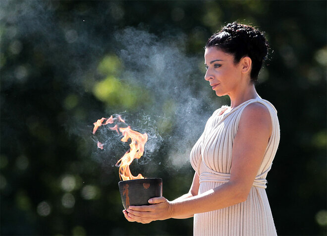 APTOPIX Greece Olympics Sochi Flame Lighting