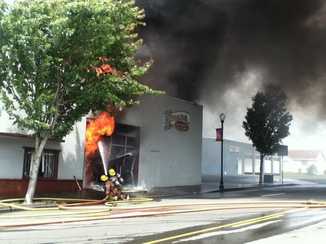 Bill Morse photo of fire in Coos Bay