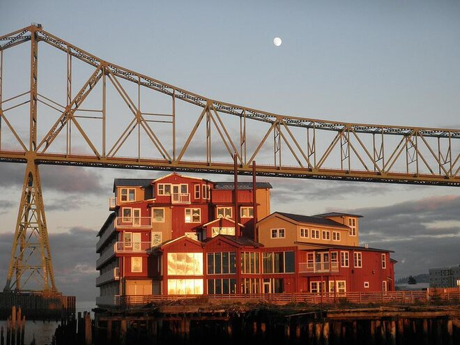 Cannery Pier Hotel and the Astoria-Megler Bridge by Chris Maguire