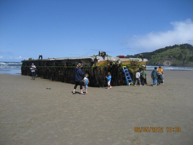 John Stork photo of dock that washed ashore on Agate Beach (2)