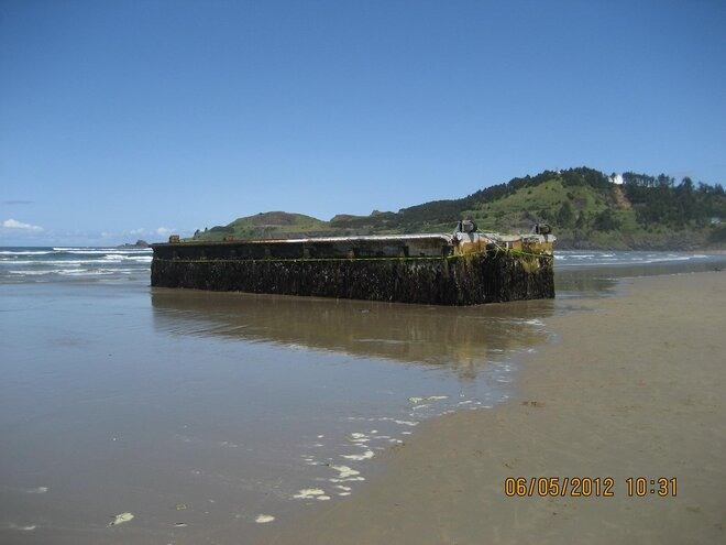 John Stork photo of dock that washed ashore on Agate Beach