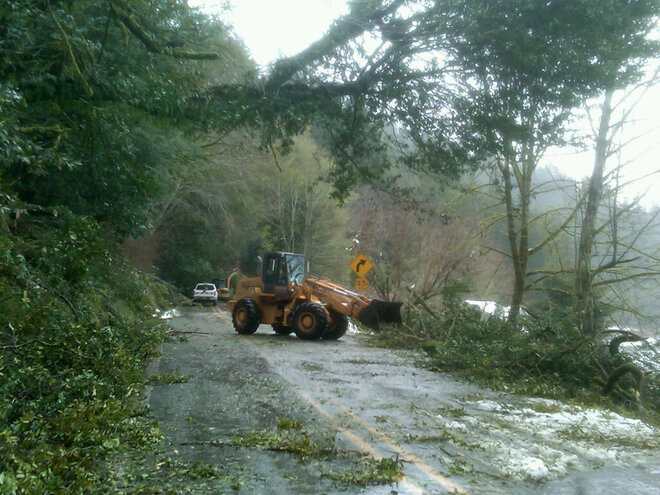 Photos of March 12-13 snowstorm damage on the Oregon Coast by ODOT staff