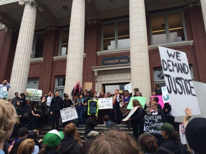 Rape accusation against college athletes sparks protest