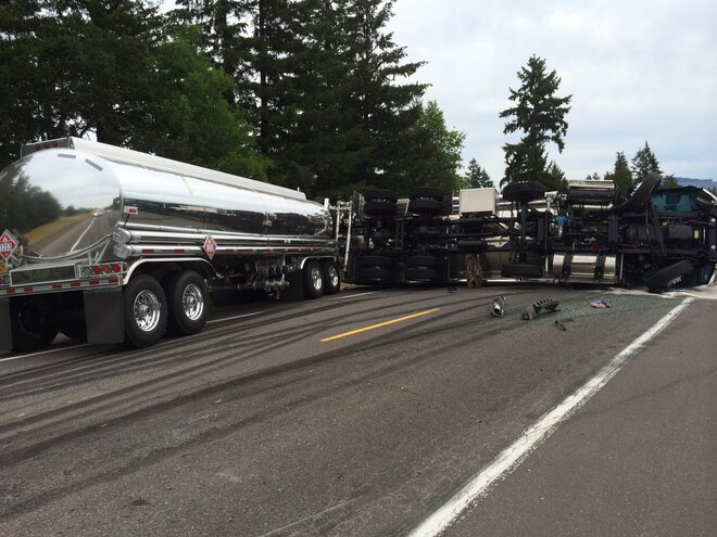 Double tanker truck hauling fuel crashes on Hwy 58