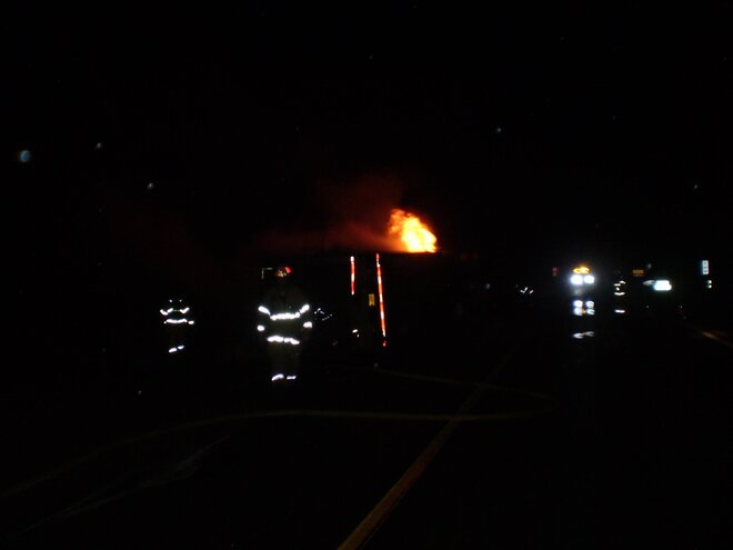 Truck fire east of Troutdale on I-84