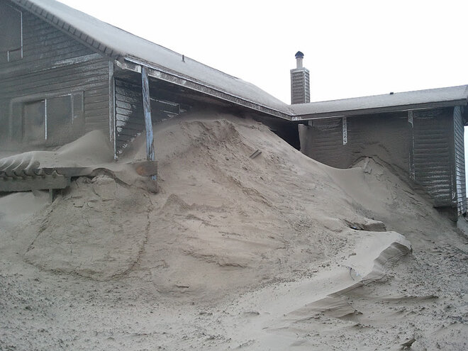 Waldport buried in sand by January 2012 storm (2)