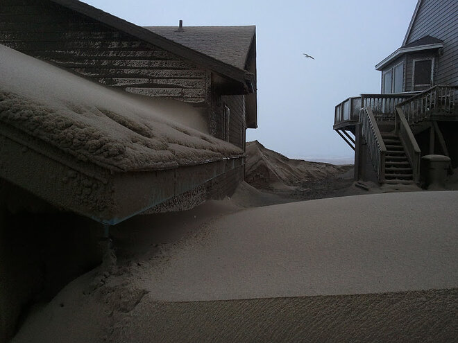 Waldport buried in sand by January 2012 storm