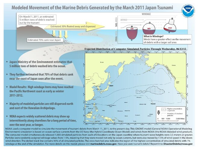 NOAA graphic explains how tsunami debris crosses ocean