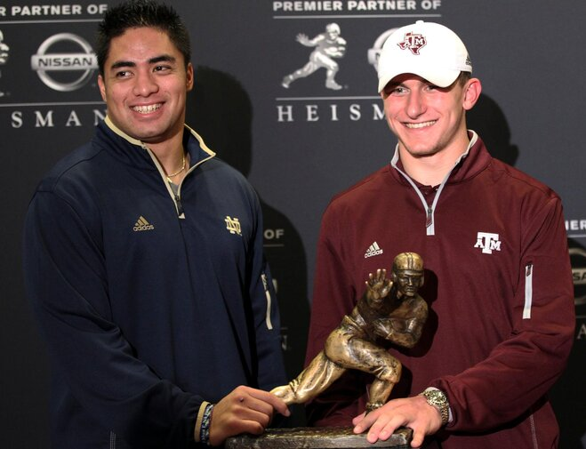 Te'o and Manziel hit Manhattan with Heisman hopes