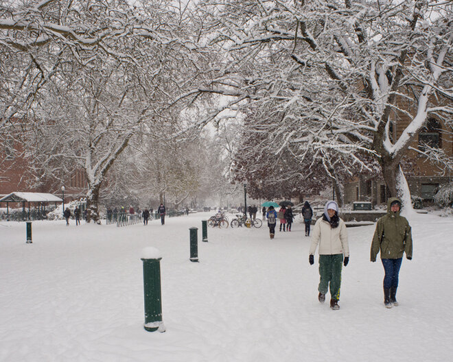 Duck football team challenges Oregon campus to snowball fight (11)
