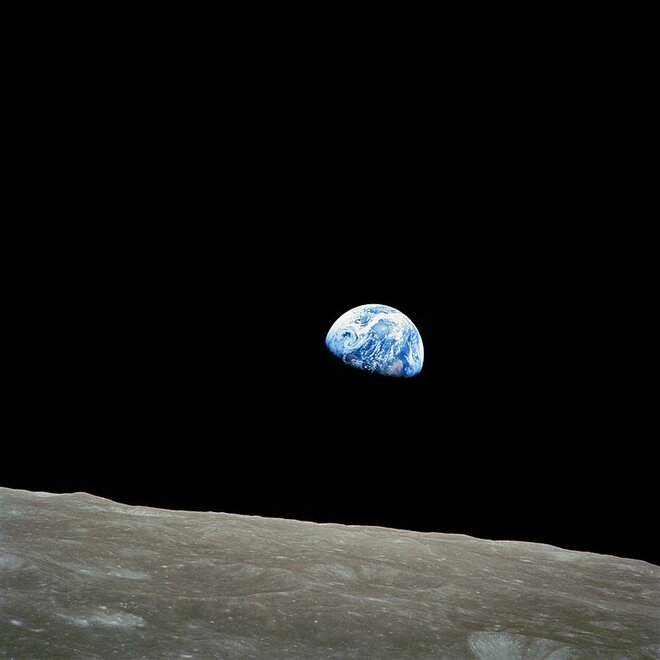 First Earthrise seen Christmas Eve 1968: 'You got a color film, Jim?'