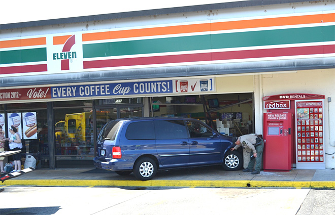 Crash at 7-11
