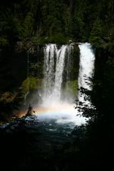 Koosah Falls with a Rainbow at the base