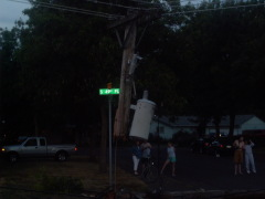 Speeding truck plows into power pole .