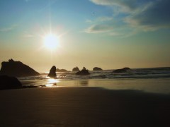 SUNSET-BANDON BEACH NEAR FACE ROCK