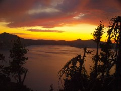 Flaming sky over Crater Lake