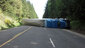 Semi-truck overturns and blocks Hwy 58 near Oakridge 01