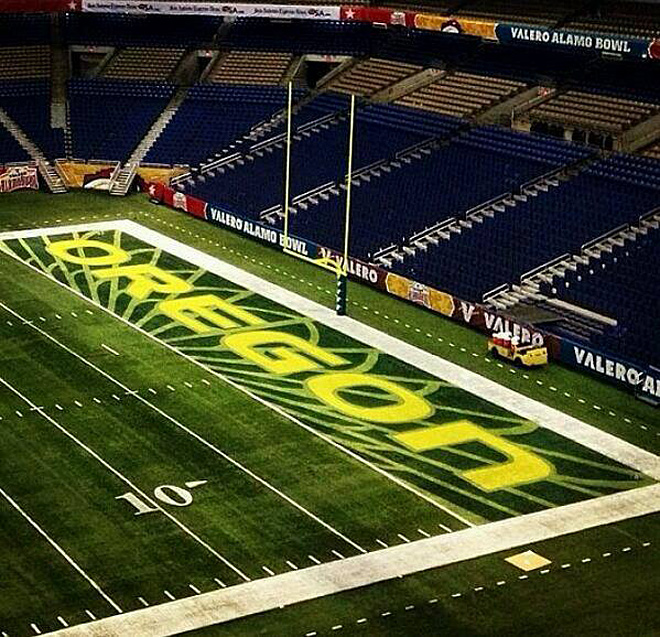 A look at the Ducks endzone paint job for the Alamo Bowl - Photo by Tom Ward