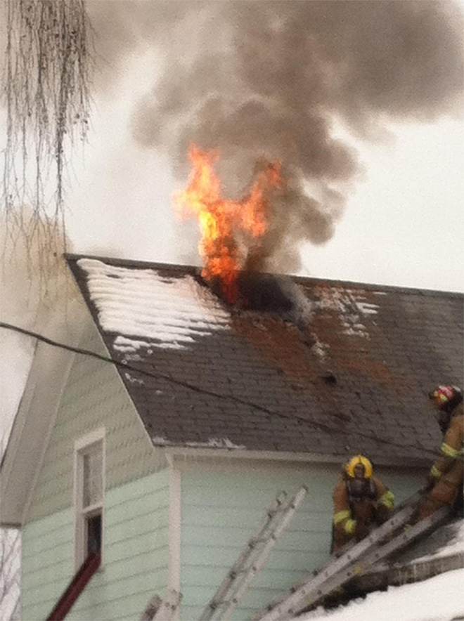House fire spotted from street