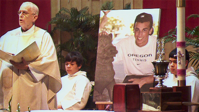 Hundreds remember UO tennis star at memorial service