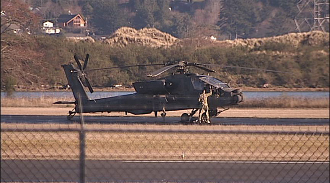 Apache helicopters at airport in North Bend