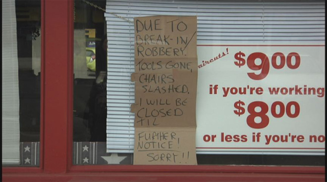 Barber shop robbed and vandalized