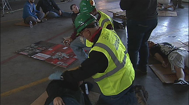 CERT trainees show of skills in disaster simulations - Photo by Chris Liedle