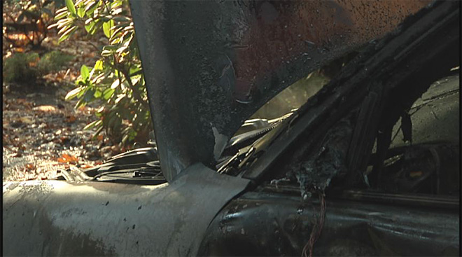 Car completely destroyed by flames in Eugene south hills 5