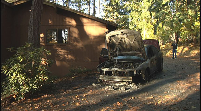 Car completely destroyed by flames in Eugene south hills 7
