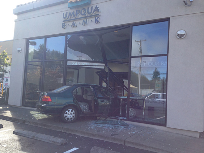 Car crashes into bank: 'Like a chandelier falling down'