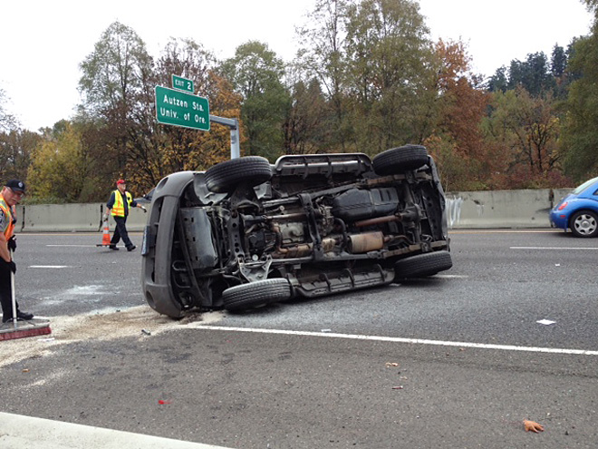 Car overturns on I-105 October 31 (3)