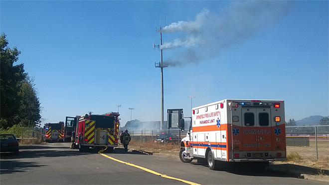 Cell tower fire near Thurston High sends up smoky plume