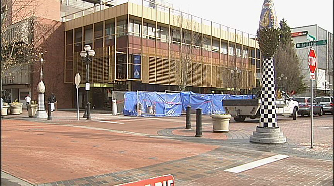 Last vestige of downtown pedestrian mall removed
