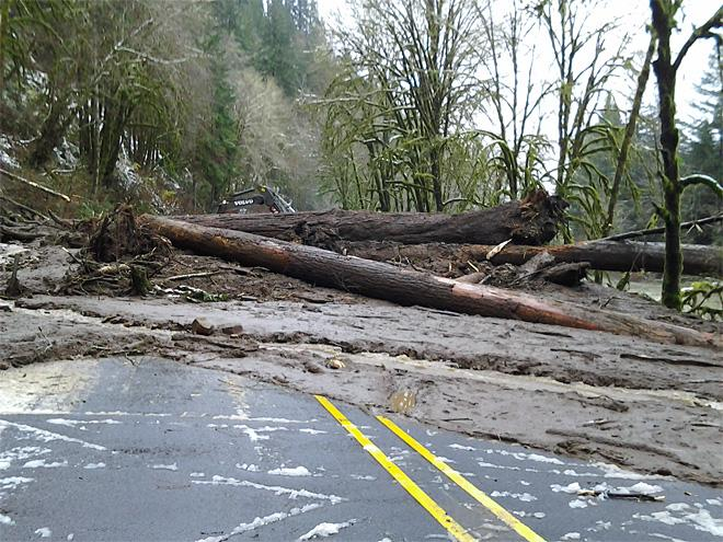 Cleanup begins on landslide blocking Highway 126 between Eugene and the Oregon Coast (3)