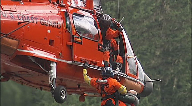 Coast Guard helicopter rescues Earl and Bob from stuck drift boat on McKenzie River July 20 (2)