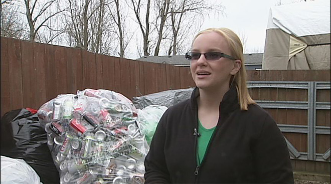 Collecting cans to cover college costs - 03