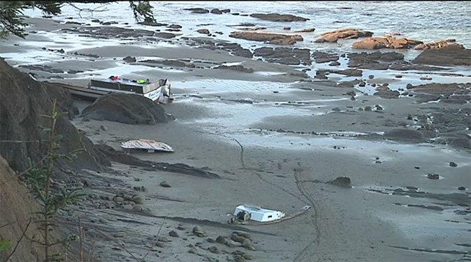 Crab boat washes ashore 1