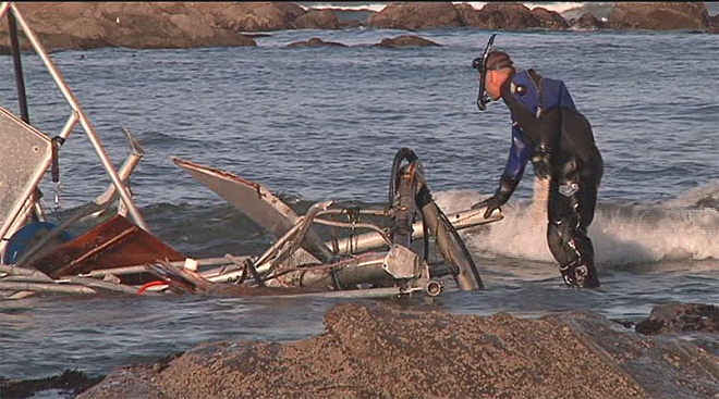 Crab boat washes ashore 10