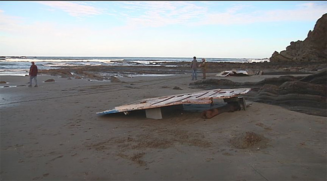 Crab boat washes ashore 8